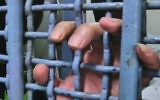 A Palestinian prisoner holds the bars of a jail cell, illustrative (Channel 2 news)