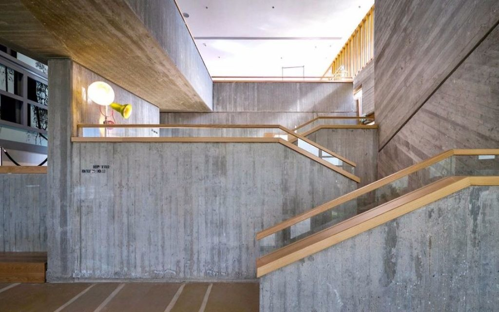The exposed concrete walls of the multi-level day room of the Elma (Courtesy Amnon Rechter)