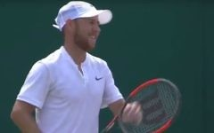 Dudi Sela at Wimbledon on July 6, 2017. (screen capture: Sky News)