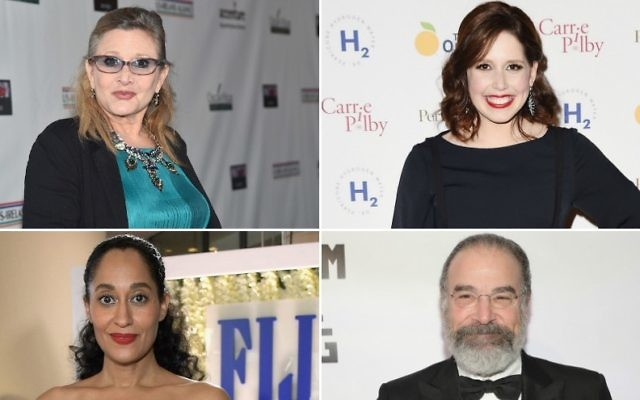 Top left, clockwise, Emmy Awards nominees Carrie Fisher, Vanessa Bayer, Mandy Patinkin and Tracee Ellis Ross (Getty Images via JTA)