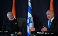 Israeli Prime Minister Benjamin Netanyahu, right, meets with his Indian counterpart Narendra Modi at the King David Hotel in Jerusalem, July 5, 2017. (Hadas Parush/Fash90)