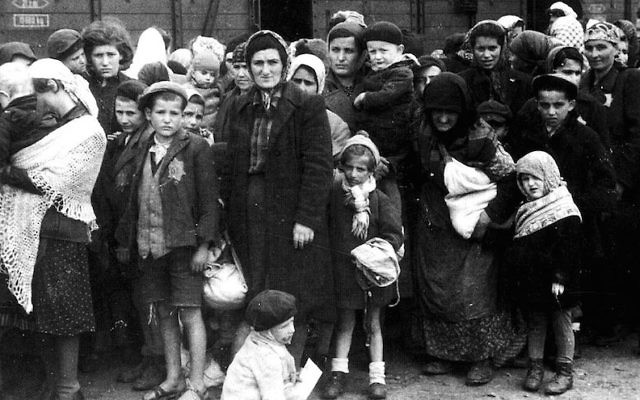 Jews arriving at Auschwitz in 1944. (Wikimedia Commons/via JTA)