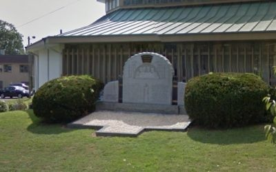 Holocaust memorial outside the Congregation Sons of Israel Synagogue in Lakewood, New Jersey. (Screen capture: Google maps)