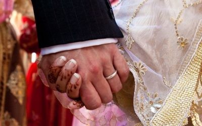 Illustrative photo of a bride and groom holding hands at a Muslim wedding in Morocco. iStock photo/Getty images)