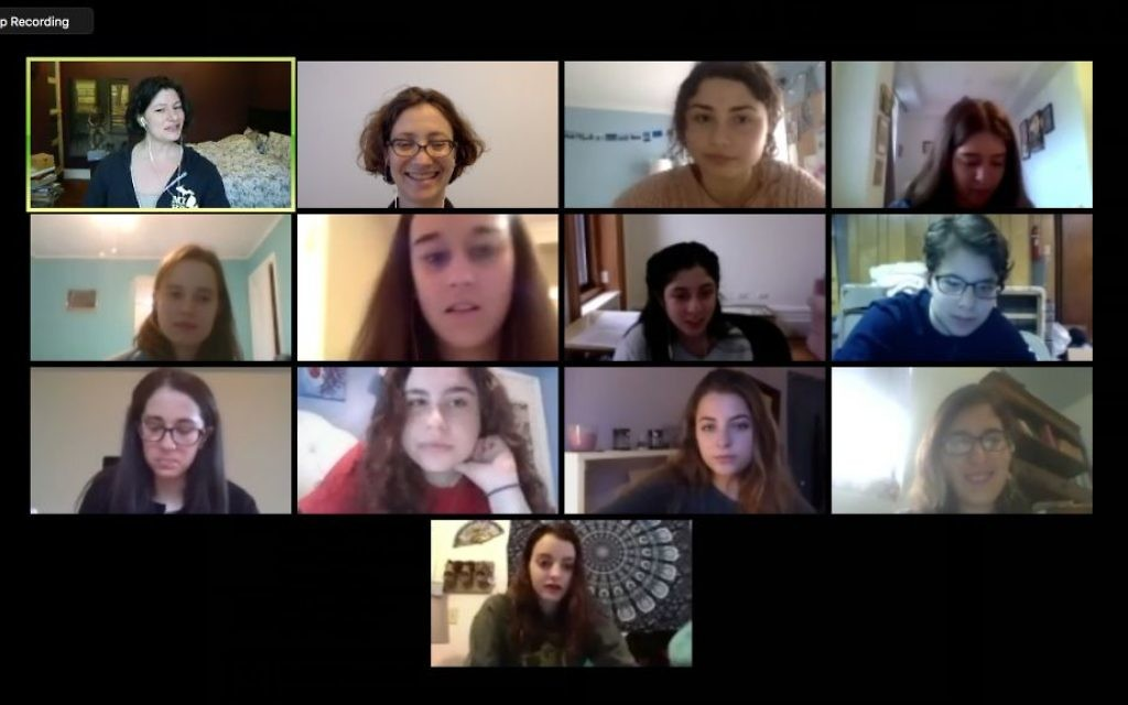 jGirls teen editorial board members, who live all over the US, hold meeting online in January 2017. (Screenshot courtesy of Elizabeth Mandel)