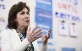 Jacky Rosen, Democratic candidate for Nevadas 3rd Congressional district, speaks to campaign volunteers in the Nevada Democrats'  field office in southwest Las Vegas on Oct. 18, 2016. (Photo By Bill Clark/CQ Roll Call via JTA)