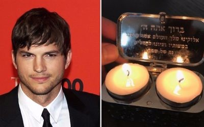 Ashton Kutcher and a picture he posted of Shabbat candles (CC-BY David Shankbone, Wikimedia Commons/Instagram via JTA)