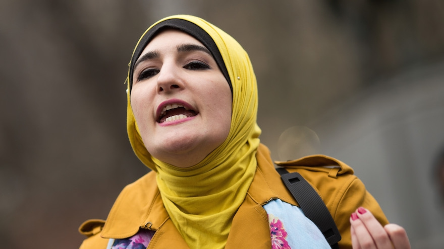 Activist Linda Sarsour speaks during a 'Women For Syria' gathering at Union Square, April 13, 2017 in New York City. (Photo by Drew Angerer/Getty Images via JTA)