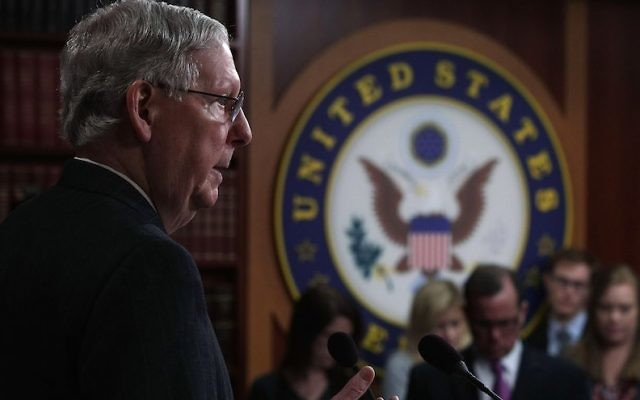 US Senate Majority Leader Sen. Mitch McConnell speaks during a news conference at the Capitol April 7, 2017 in Washington, DC. (Alex Wong/Getty Images)