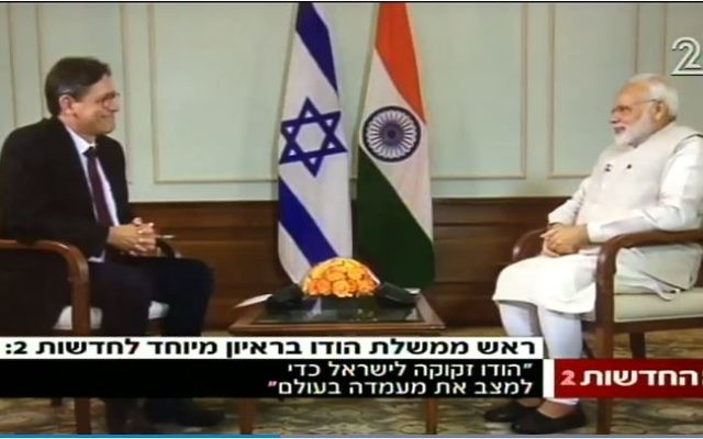 Indian Prime Minister Narendra Modi (R) is interviewed by Channel 2's Arad Nir on July 3, 2017. (Screen capture/Channel 2)