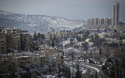 View of Jerusalem's Nayot neighborhood on January 10, 2015, after a snowy day. Many properties in this neighborhood have been sold by the Greek Orthodox Patriarch to private investors. (Hadas Parush/Flash90)