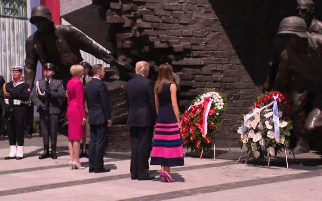 Donald Trump lays a wreath at the Warsaw Ghetto uprising memorial on July 6, 2017. (screen capture: White House)