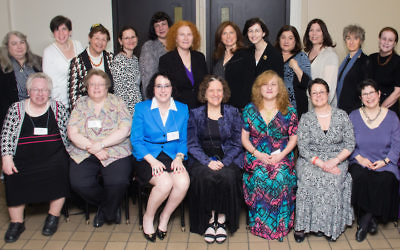 The honorees from the first generation of Conservative women rabbis pose for a photo at the 2015 Conservative Rabbinical Assembly celebration of 30 years of women in the rabbinate. (Yossi Hoffman)