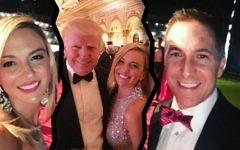 Lynn Aronberg (left), her husband Dave Aronberg (right) and an undated photo of Lynn with Donald Trump (center). (Facebook via JTA)
