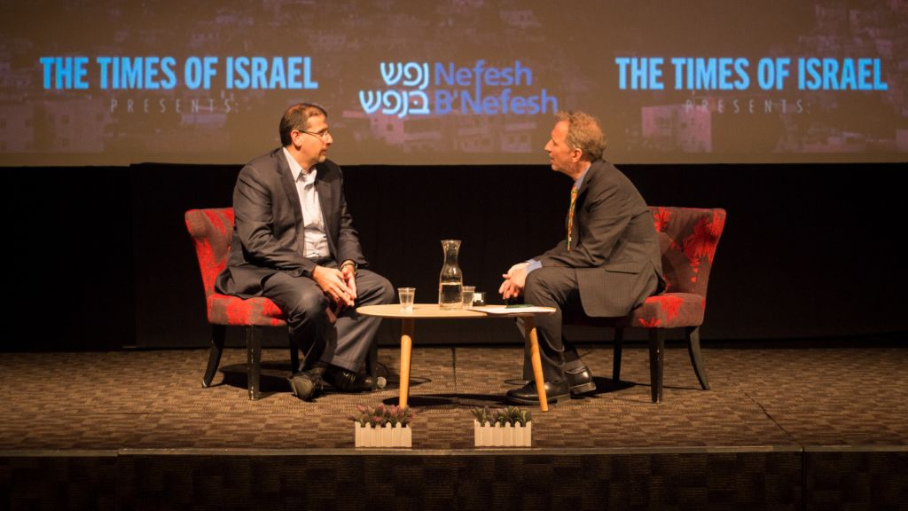 Former US ambassador Dan Shapiro speaks to David Horovitz at a Times of Israel event in Jerusalem, July 2, 2017. (Luke Tress/Times of Israel)