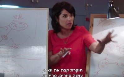 Actress Rotem Ahubhab uses a complicated flow chart to convey her son's summertime supervision to her TV show husband, actor Mariano Idelman on the comedy 'La Famiglia' (Courtesy Channel 10)
