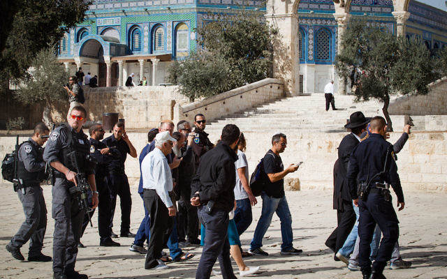 A group of Jewish worshippers seen at the al-Aqsa Mosque compound in the Old City of Jerusalem, on November 07, 2016. (Sebi Berens/Flash90)