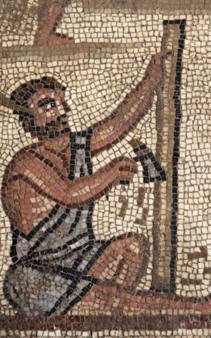 This Huqoq synagogue mosaic in Lower Galilee depicts men at work constructing a stone tower, apparently the Tower of Babel. (Jim Haberman UNC Media Relations)