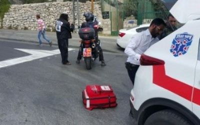 An illustrative photo of United Hatzalah paramedics at the scene of a stabbing attack in Jerusalem, in August 2016. (United Hatzalah)