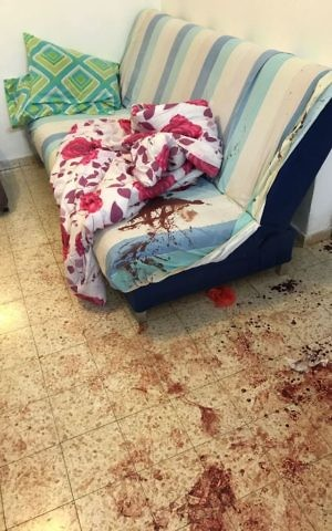 The scene of a deadly stabbing attack in the West Bank settlement of Halamish on July 21, 2017. (IDF Spokesperson)
