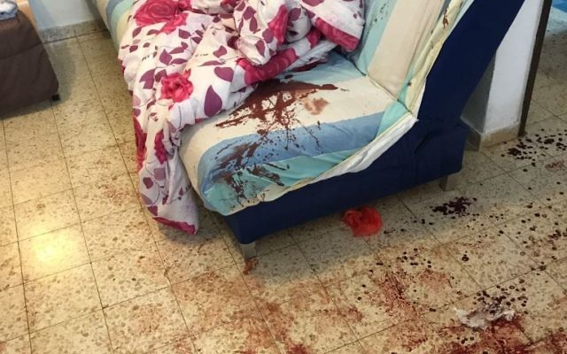 The scene of a deadly terrorist attack in the West Bank settlement of Halamish on July 21, 2017. (IDF Spokesperson)