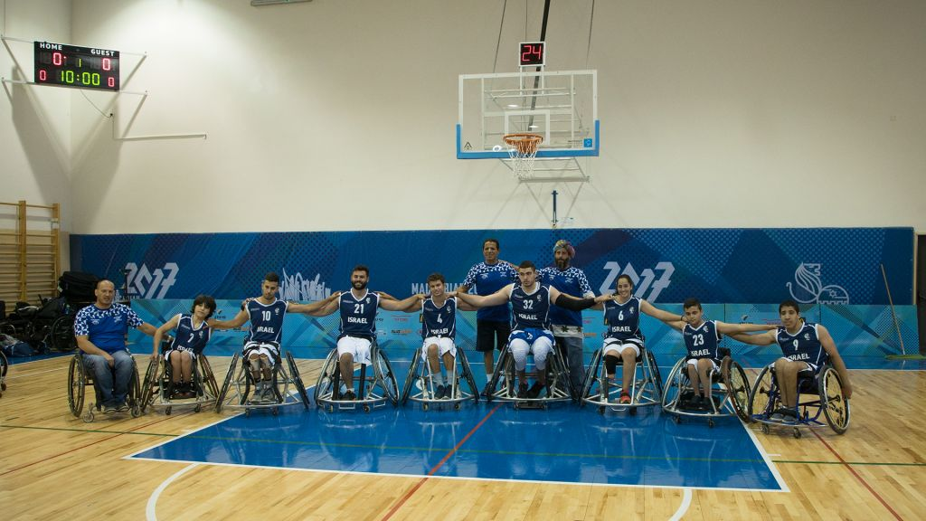 Israel's wheelchair basketball team before a game with the United States, July 9, 2017. (Luke Tress/Times of Israel)