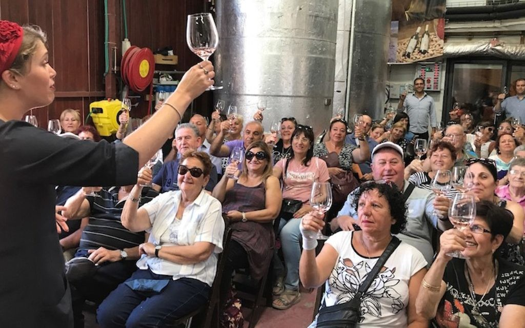 Vered Saadon toasting with an Israeli tour group at her Tura Winery in the West Bank settlement of Rahelim, June 21, 2017. (Andrew Tobin/JTA)