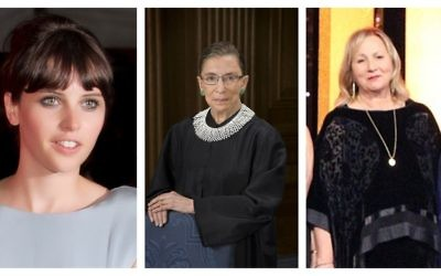 From left, Felicity Jones (CC-SA/Materialscientist), Supreme Court Justice Ruth Bader Ginsburg (Public domain), and Mimi Leder (CC-SA/Janafrench93).