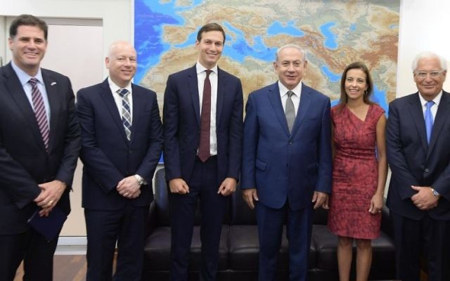 L-R: Israeli Ambassador to the US Ron Dermer, US President Donald Trump's Middle East envoy Jason Greenblatt, White House Senior Adviser Jared Kushner, Prime Minister Benjamin Netanyahu, US Deputy National Security Adviser for Strategy Dina Powell and US Ambassador to Israel David Friedman meet in Tel Aviv on August 24, 2017.  (Amos Ben Gershom/GPO)