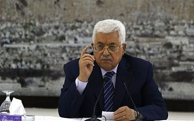 Palestinian Authority President Mahmoud Abbas speaks during a meeting of the Palestinian leadership in the West Bank city of Ramallah, July 25, 2017. (AFP/Abbas Momani)