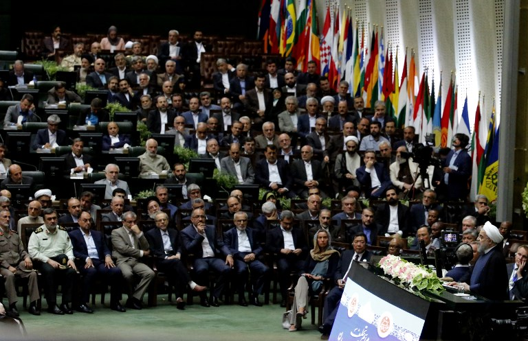 Iran's President Hassan Rouhani delivers a speech after being sworn in before parliament in Tehran