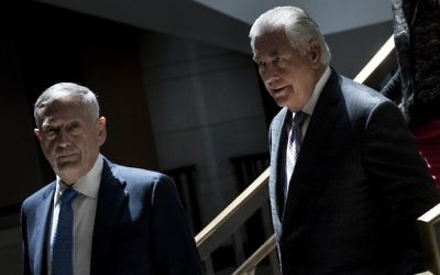 This photo taken on August 2, 2017, shows US Secretary of Defense James Mattis (L) and US Secretary of State Rex Tillerson (R) arriving for a closed meeting of the Senate Foreign Relations Committee on Capitol Hill in Washington, DC. (Brendan Smialowski/AFP)