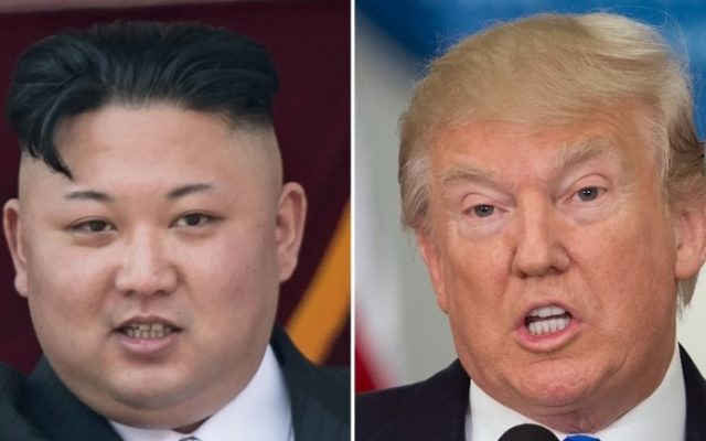This combo of file photos shows an image (L) taken on April 15, 2017 of North Korean leader Kim Jong-Un on a balcony of the Grand People's Study House following a military parade in Pyongyang. The image on the right taken on July 19, 2017 shows US President Donald Trump speaking during the first meeting of the Presidential Advisory Commission on Election Integrity in Washington, DC. (AFP/Saul Loeb and Ed Jones)