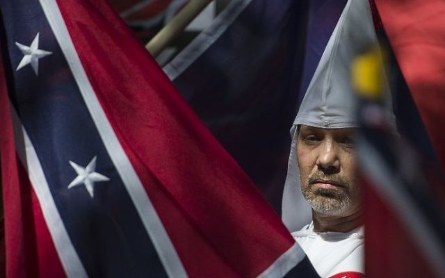 This file photo taken on July 08, 2017 shows a member of the Ku Klux Klan during a rally, calling for the protection of Southern Confederate monuments, in Charlottesville, Virginia. (AFP PHOTO / ANDREW CABALLERO-REYNOLDS)