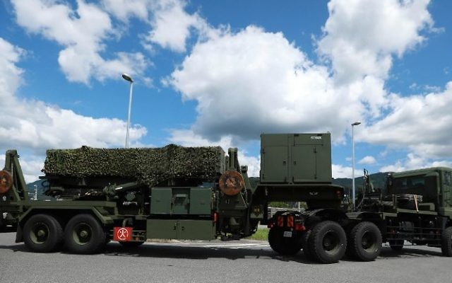 A PAC-3 surface-to-air missile is transported into Japan Ground Self-Defense Forces' Kaita base in Kaita town, Hiroshima prefecture on August 12, 2017.  (AFP PHOTO / JIJI PRESS / STR )