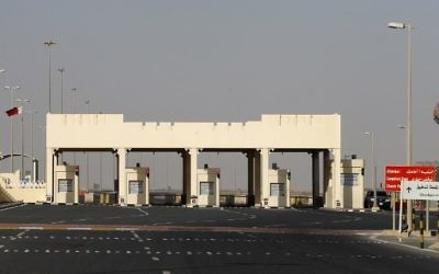 This file photo taken on June 23, 2017, shows a general view of the Qatari side of the Abu Samrah border crossing with Saudi Arabia. (AFP Photo/Karim Jaafar)
