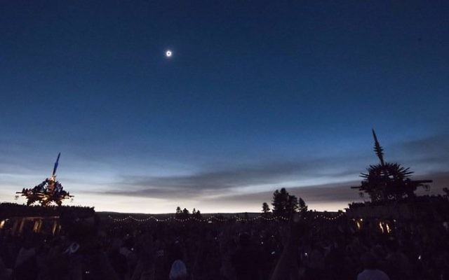The sun's corona only is visible during a total solar eclipse between the Solar Temples at Big Summit Prairie ranch in Oregon's Ochoco National Forest near the city of Mitchell August 21, 2017. (Robyn Beck/AFP)
