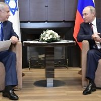 Russian President Vladimir Putin (R) meets with Prime Minister Benjamin Netanyahu at the Bocharov Ruchei state residence in Sochi on August 23, 2017. (AFP Photo/Sputnik/Alexey Nikolsky)