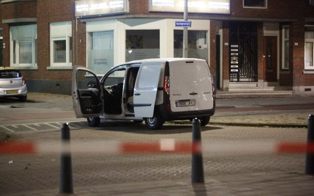 A van with a Spanish numberplate near the concert venue Maassilo is seen during police investigations after a rock concert was cancelled due to a terror threat, in Rotterdam, The Netherlands, on August 23, 2017. (AFP/ ANP / Arie Kievit)