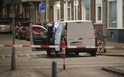 Dutch police investigate a van with Spanish number a license plate carrying gas canisters in Rotterdam, on August 23, 2017. (AFP Photo/ANP/Arie Kievit)