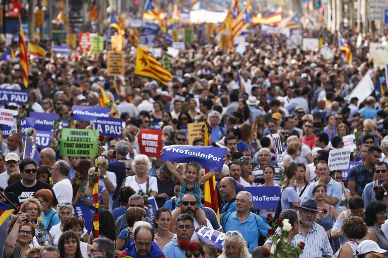 Thousands March Against Terror In Barcelona The Times Of Israel