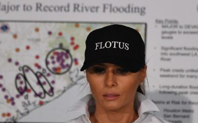 US First Lady Melania Trump listens during a firehouse briefing on Hurricane Harvey in Corpus Christi, Texas on August 29, 2017. (AFP/Jim Watson)