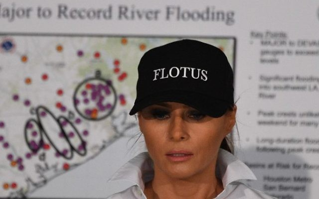 Us First Lady Melania Trump Listens During A Firehouse Briefing On Hurricane Harvey In Corpus Christi