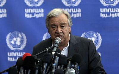 United Nations Secretary General Antonio Guterres speaks to the press media during a visit to a UN school in Beit Lahia in the northern Gaza Strip on August 30, 2017. (AFP Photo/Mahmud Hams)