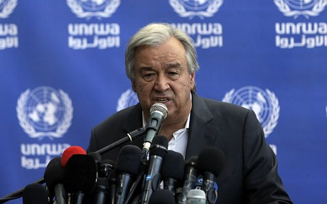 United Nations Secretary General Antonio Guterres speaks to the  media during a visit to a UN school in Beit Lahia in the northern Gaza Strip on August 30, 2017. (AFP Photo/Mahmud Hams)