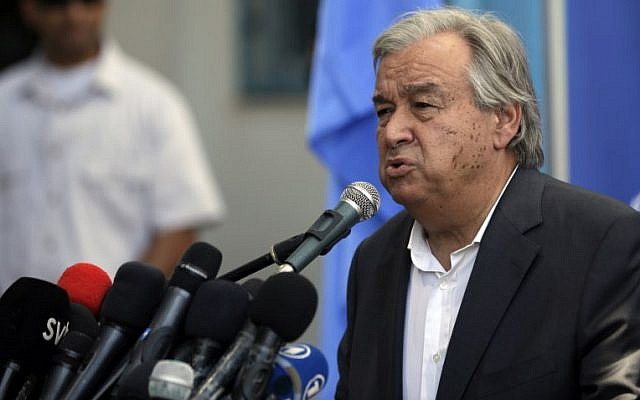 United Nations Secretary General Antonio Guterres delivers a statement to the media, during a visit to a UN School in Beit Lahiya in the northern Gaza Strip, August 30, 2017. (AFP/MAHMUD HAMS)