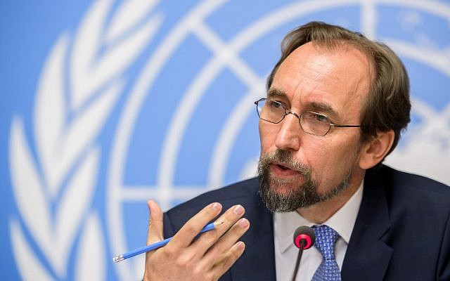 United Nations High Commissioner for Human Rights Zeid Ra'ad Al Hussein gestures as he delivers a press conference on a report on Venezuela at the UN Offices in Geneva on August 30, 2017. (AFP/ Fabrice COFFRINI)