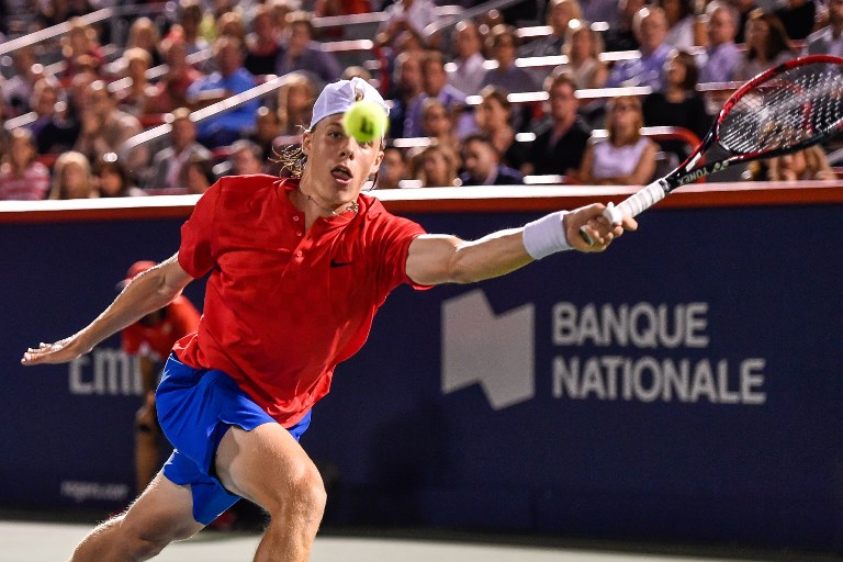 Denis Shapovalov of Canada reaches for the ball against Rafael Nadal of Spain during day seven of the Rogers Cup on August 10, 2017 in Montreal, Quebec, Canada. (Minas Panagiotakis/Getty Images/AFP)
