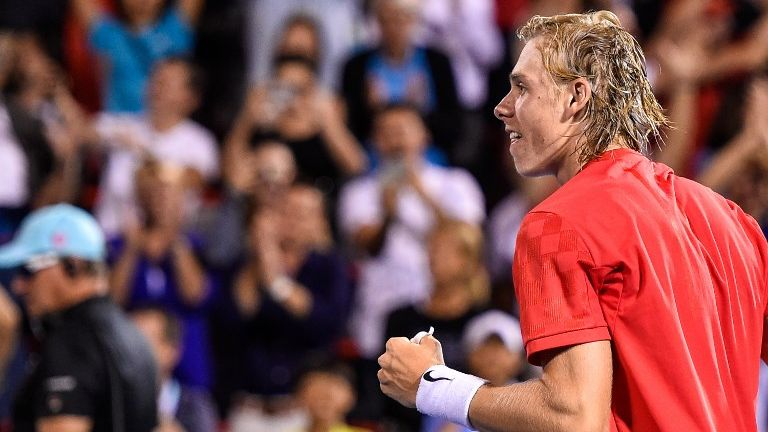 Israel-born Denis Shapovalov of Canada celebrates his victory over Rafael Nadal of Spain during day seven of the Rogers Cup on August 10, 2017 in Montreal, Canada. (Minas Panagiotakis/Getty Images/AFP)