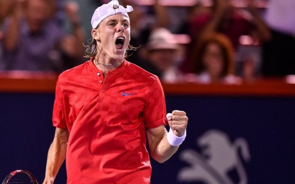 Denis Shapovalov of Canada reacts after scoring a point against Adrian Mannarino of France in day eight of the Rogers Cup at Uniprix Stadium on August 11, 2017 in Montreal, Quebec, Canada. (Minas Panagiotakis/Getty Images/AFP)